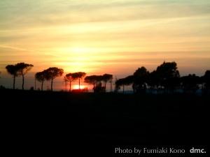 ローマ郊外の夕陽