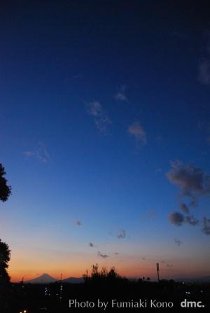 新春の富士の夕暮れ