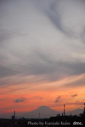 夏の夕陽 富士山