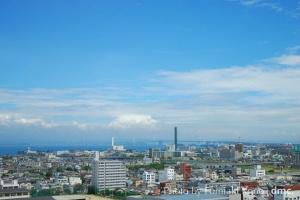 丸亀城からに眺望 瀬戸大橋