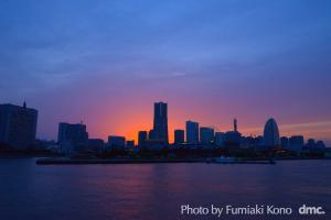 大桟橋からの夕陽